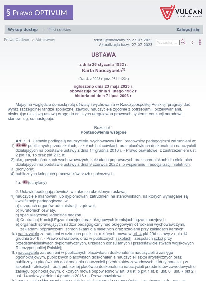 Ustawa Karta Nauczyciela Tekst Ujednolicony Na 14 05 2019