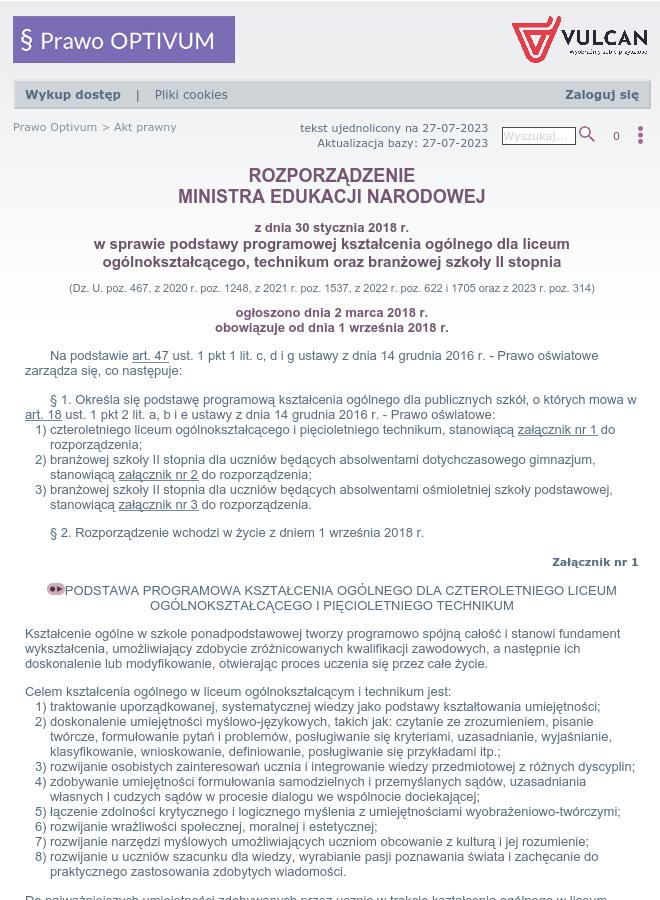 Rozporządzenie W Sprawie Podstawy Programowej Kształcenia